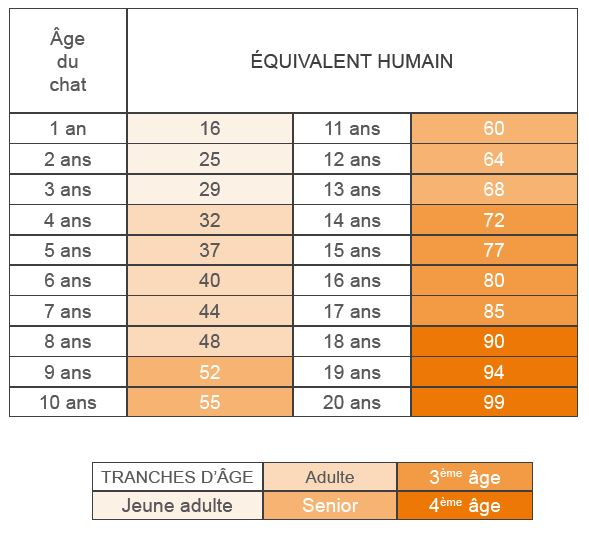 Tableau des âges